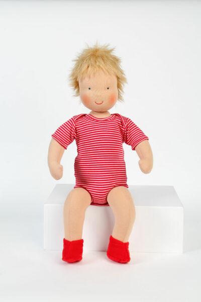 Große Babypuppe, ca. 50 cm, blond oder brünett, rot